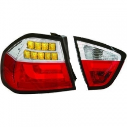 PILOTOS BMW E90 05-08 SOLO LIMOUSINE CRISTAL CLARO/ROJO-CROMADO+LED INTERMITENTE+LED LUCES DE FRENO LED