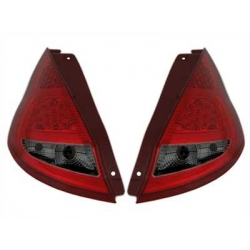 PILOTOS LED FORD FIESTA MK7. COLOR ROJO-CROMO.