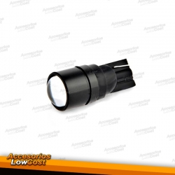 JUEGO DE 2 BOMBILLAS LED T10 COB CON LUPA.
