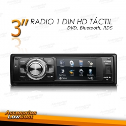 "RADIO 1 DIN CON PANTALLA DIGITAL HD DE 3"" CON BLUETOOTH Y DVD"