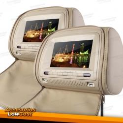 """ENCOSTOS DE CABECA LCD MULTIMEDIA DE 7"""" / BEGE"""