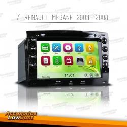 RADIO NAVEGADOR 7 PULGADAS HD GPS DVD MANOS LIBRES ESPECIFICO PARA RENAULT MEGANE 2003-2008