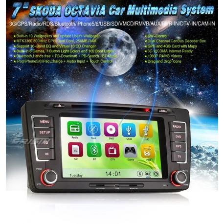 RADIO NAVEGADOR DVD GPS TACTIL 2DIN PARA SKODA OCTAVIA III 2009-2012
