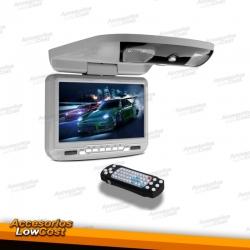 """PANTALLA DE TECHO 9"""" COLOR GRIS, CON REPRODUCTOR DE DVD, USB Y TARJETA SD"""