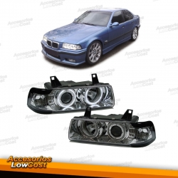 FAROS OJOS DE ANGEL CCFL BMW E36, 92-98 H1+H1,, CRISTAL CLARO/ CROMADO, 4 PUERTAS