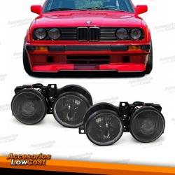 FAROS BMW E30, 82-94, H.CRISTAL CLARO- NEGRO, CON RETICULO- DE LENTE