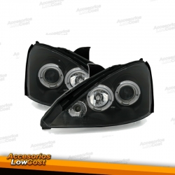 FAROS OJOS DE ANGEL FORD FOCUS 98-01. COLOR NEGRO.