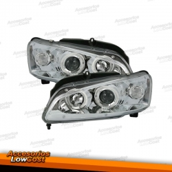 FAROS CON OJOS DE ANGEL PEUGEOT 106 96++. COLOR CROMO.