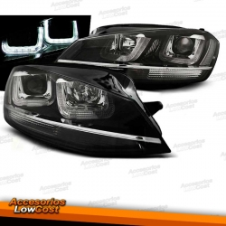 FAROS DELANTEROS DRL LED PARA VW GOLF VII, 11/12-17, fondo negro