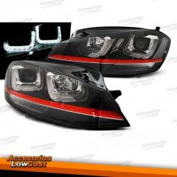 FAROS DELANTEROS CON DRL LED PARA VW GOLF VII, 11/12-17, fondo negro, look GTI.