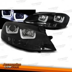 FAROS DELANTEROS CON DRL LED PARA VW GOLF VII, 11/12-17, TIPO U fondo negro