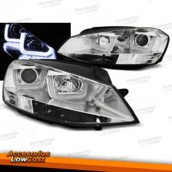 FAROS DELANTEROS CON DRL LED PARA VW GOLF VII, 11/12-17, TIPO U fondo cromo