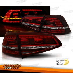 PILOTOS TRASEROS LED CON INTERMITENTE DINÁMICO PARA VW GOLF 7, 13-17, ROJO AHUMADO LOOK GTI