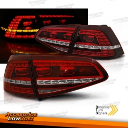 PILOTOS TRASEROS LED CON INTERMITENTE DINÁMICO PARA VW GOLF 7, 13-17, ROJO LOOK GTI