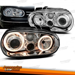 FAROS CON OJOS DE ANGEL PARA VW GOLF IV LOOK R32, 97-03.COLOR CROMO