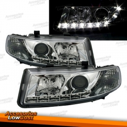 FAROS LUZ DIURNA LED TOLEDO Y SEAT LEON, 99-04 CRISTAL CLARO/CROMADO.