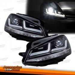 FAROS FULL LED PARA VW GOLF 7, 12-17, Look Cromo, ACTUALIZACION PARA HALÓGENO
