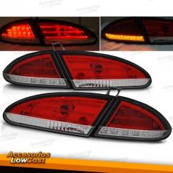 PILOTOS TRASEROS LED PARA SEAT LEON 1P. ROJO-CROMO.