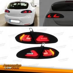 PILOTOS TRASEROS FULL LED PARA SEAT LEON 1P (04-09), LED LIGHTBAR AHUMADOS