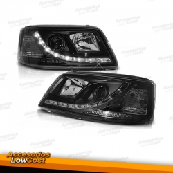 FAROS CON  LUZ DIURNA  LED PARA VW T5, 03-10, H1+H1, FONDO NEGRO