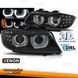 FAROS XENON OJOS DE ANGEL 3D BMW SERIE 3 E90 E91 08-12 FONDO NEGRO