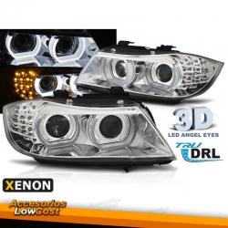 FAROS XENON OJOS DE ANGEL 3D BMW SERIE 3 E90 E91 08-12 FONDO CROMO