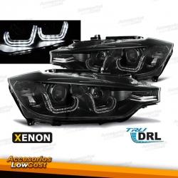 """BMW E92/E93 2006/2010 FAROS """"ANGEL EYES - LED DRL"""" CROMADOS (APTOS XENON D1S)"""