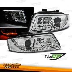 FAROS DELANTEROS AUDI A4 B6 00-04 LUZ DIURNA TUBE LIGHT FONDO CROMO