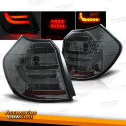 PILOTOS LED PARA BMW E87-E81 (2004-08/2007), LED BAR, CROMO AHUMADO