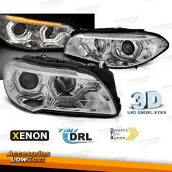 FAROS XENON CON OJOS DE ANGEL LED 3D PARA BMW F10/F11 (2010-07/2013), INTERMITENTE LED DINÁMICO, FONDO CROMO