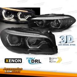 FAROS XENON CON OJOS DE ANGEL LED 3D PARA BMW F10/F11 (2010-07/2013), INTERMITENTE LED DINÁMICO, FONDO NEGRO