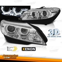 FAROS XENON CON OJOS DE ANGEL LED 3D PARA BMW Z4 (2009-2013), INTERMITENTE LED DINÁMICO, D1S, FONDO CROMO