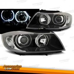 FAROS CON OJOS DE ANGEL LED PARA BMW SERIE 3 E90 E91 (05-11), H7+H7, FONDO NEGRO