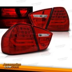 PILOTOS TRASEROS LED BAR BMW E90 (05-08) BERLINA, ROJO CROMO AHUMADOS