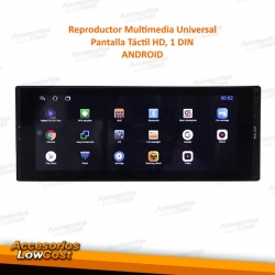 REPRODUCTOR MULTIMEDIA UNIVERSAL 1DIN CON ANDROID 10, PANTALLA 6,9'' HD TÁCTIL, USB SD GPS
