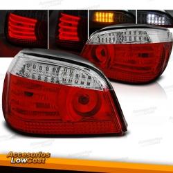PILOTOS TRASEROS LED PARA BMW SERIE 5 E60 (03-07), ROJO-BLANCO