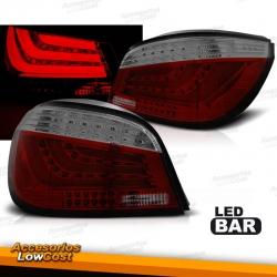 PILOTOS TRASEROS LED BAR PARA BMW SERIE 5 E60 (03-07), ROJO-BLANCO