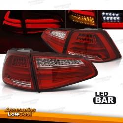 PILOTOS TRASEROS FULL LED PARA VW GOLF 7, 13-17, ROJO-BLANCO