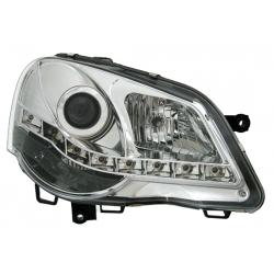 FAROIS COM LUZ DIURNA LED VW POLO 9N3,05-09. CROMADO