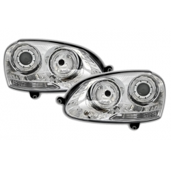 FAROS OJOS DE ANGEL PARA VW GOLF V 5,03++.COLOR CROMO