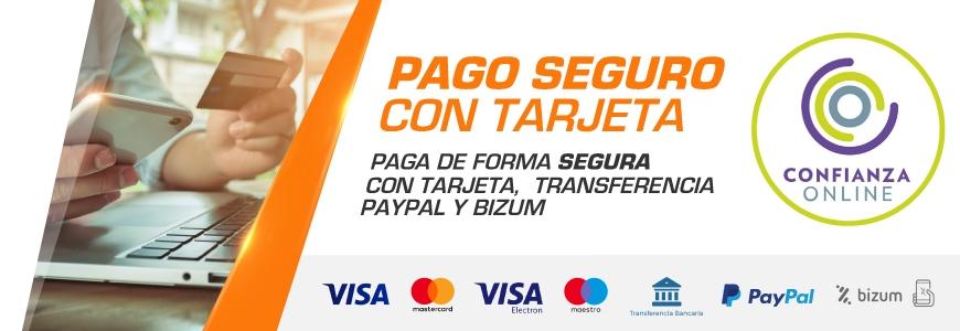 Pago seguro con Tarjeta, Bizum, Paypal o Transferencia Bancaria en Auto Accesorios LowCost